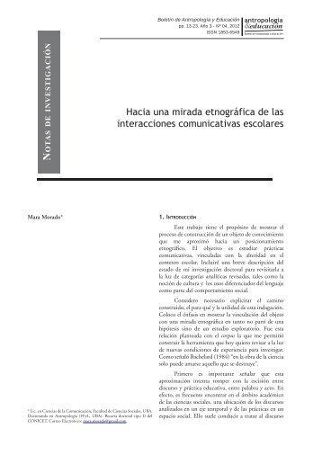 Hacia una mirada etnográfica de las interacciones comunicativas ...
