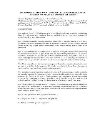 DECRETO LEGISLATIVO Nº 674 - APRUEBAN LA LEY DE ...