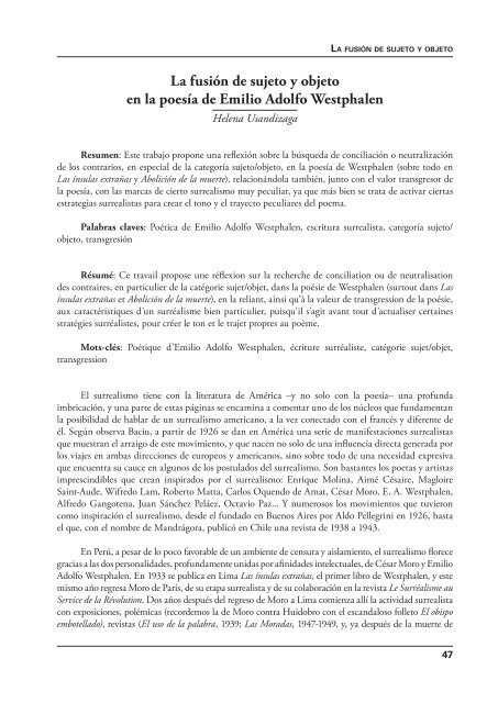 La Fusión De Sujeto Y Objeto En La Poesía De Emilio Adolfo