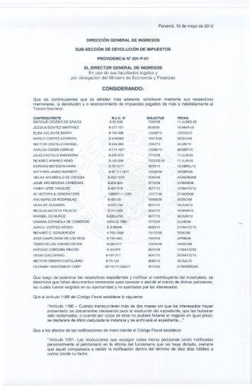 providencia 201-p-01 - Dirección General de Ingresos