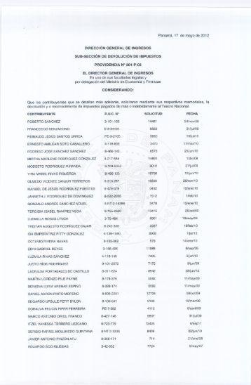 providencia 201-p-03 - Dirección General de Ingresos