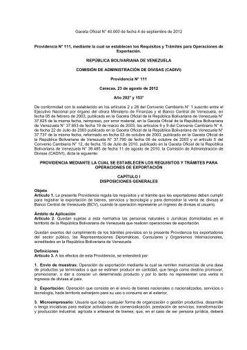 CADIVI Providencia Administrativa N° 111 Exportaciones Sept 4, 2012