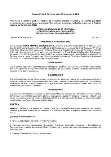 VP CCP SNC Providencia Requisitos RNC Agosto 28, 2012