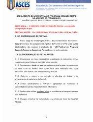 regulamento do viii festival do programa segundo tempo - Asces