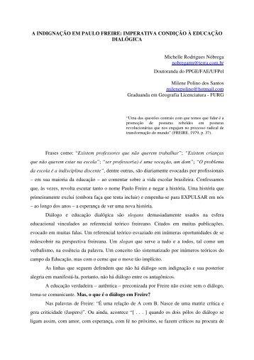A INDIGNAÇÃO EM PAULO FREIRE: IMPERATIVA CONDIÇÃO À ...