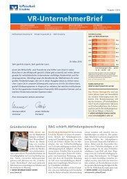 VR-UnternehmerBrief - Raiffeisenbank Straubing eG