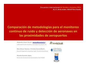 Comparación de metodologías para el monitoreo ... - Acustical