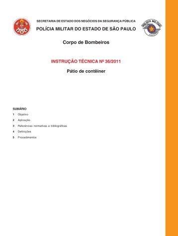 instrução técnica nº 36 - Corpo de Bombeiros
