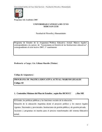 Política Educativa Actual - UCCuyo San Luis
