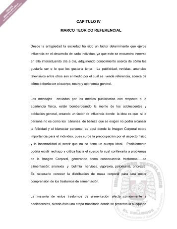 CAPITULO IV MARCO TEORICO REFERENCIAL