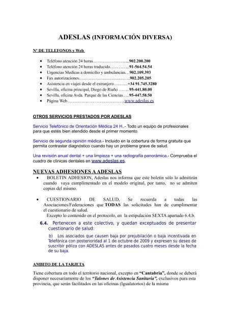 Adeslas Informacion Diversa Acpt Sevilla