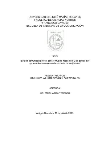 universidad dr. josé matías delgado facultad de ciencias y artes