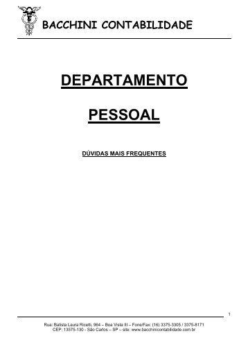 Cartilha Departamento Pessoal - Bacchinicontabilidade.com.br