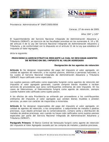 Providencia Administrativa N° SNAT/2005/0056 Caracas, 27 de ...
