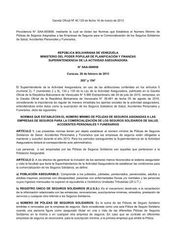 SUDEASEG Providencia Nº SAA-000658 Polizas Solidarias Marzo ...