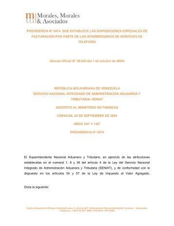 providencia n° 0474, que establece las disposiciones especiales de ...