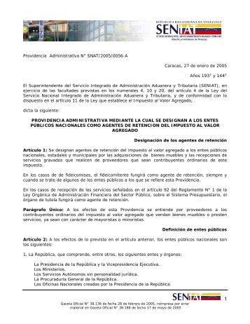 Providencia Administrativa N° SNAT/2005/0056-A Caracas, 27 de ...