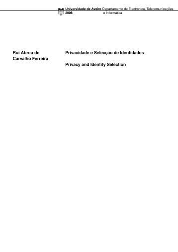 Rui Abreu de Carvalho Ferreira Privacidade e Selecc¸ ˜ao de ...