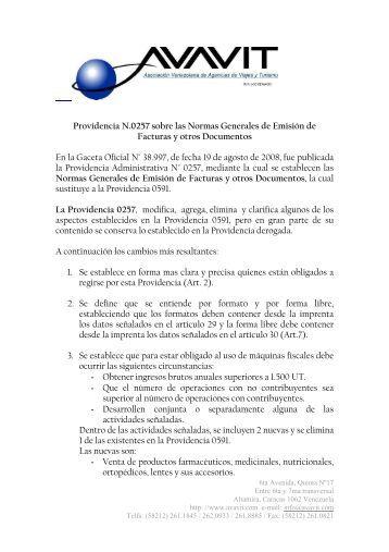 Providencia N.0257 sobre las Normas Generales de ... - avavit