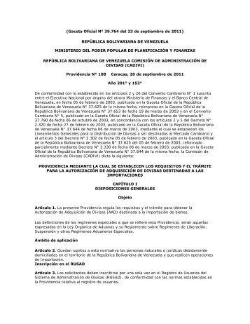 Providencia N° 108 - Gaceta Oficial N° 39.764 del 23 de septiembre ...