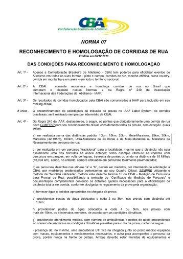 RECONHECIMENTO E HOMOLOGAÇÃO DE CORRIDA DE RUA