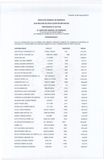 providencia 201-p-06 - Dirección General de Ingresos