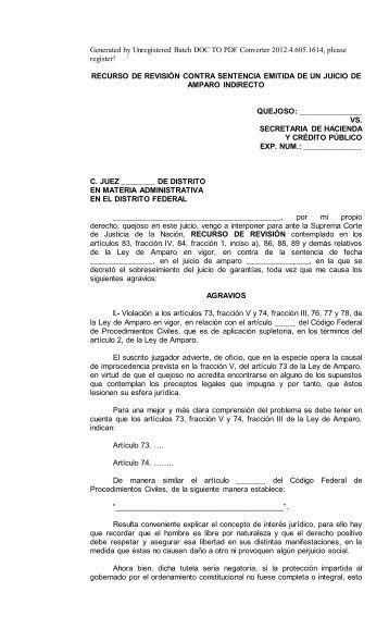 Recurso De Revisión Contra Sentencia Emitida De Un Juicio De ...