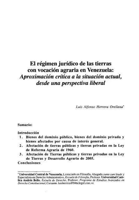 El Régimen Jurídico De Las Tierras Con Vocación Agraria En