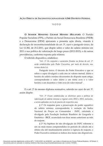 V O T O O SENHOR MINISTRO GILMAR MENDES (RELATOR ... - STF
