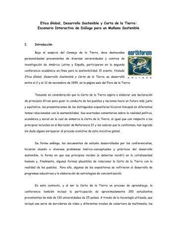 Etica Global, Desarrollo Sostenible y Carta de la Tierra ...