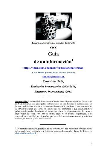 Guía de autoformación - Cornelius Castoriadis Agora International ...