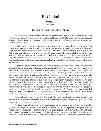El Capital TOMO I