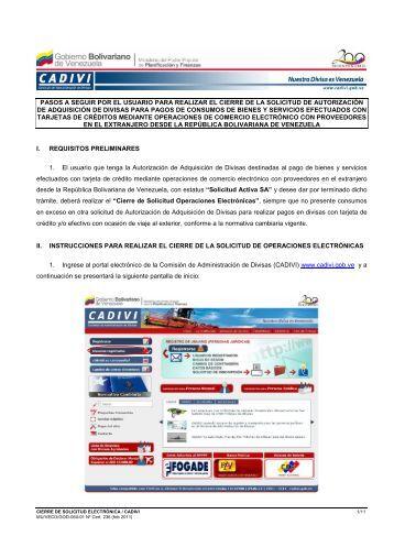 Instructivo Usuario Cierre Electronico - Cadivi : Nuestra Divisa es ...