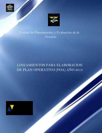 lineamientos para elaboracion de plan operativo (poa) año 2013