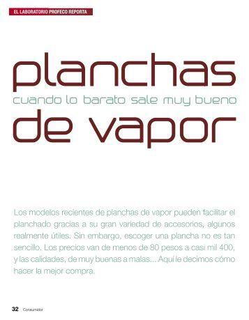 Planchas de vapor - Profeco