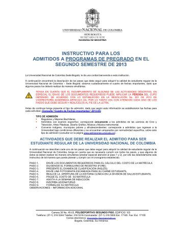 instructivo para el registro de admitidos de pregrado 2013-03