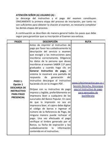 ATENCIÓN SEÑOR (A) USUARIO (A) : La descarga del instructivo y ...