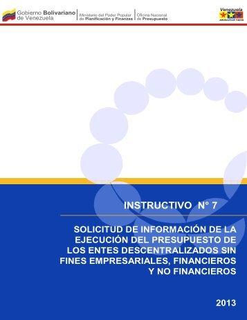 INSTRUCTIVO N° 7 - Oficina Central de Presupuesto