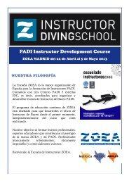 FOLLETO INSTRUCTOR DIVING SCHOOL - ZOEA Madrid