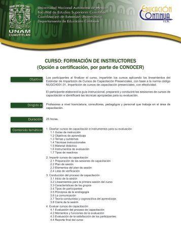 CURSO: FORMACIÓN DE INSTRUCTORES (Opción a ... - UNAM