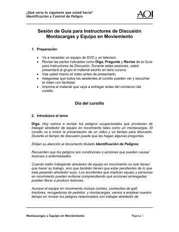 Sesión de Guía para Instructores de Discusión Montacargas y ...
