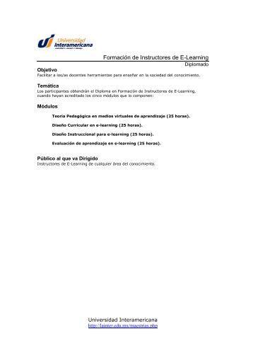 Formación de Instructores de E-Learning - Universidad ...