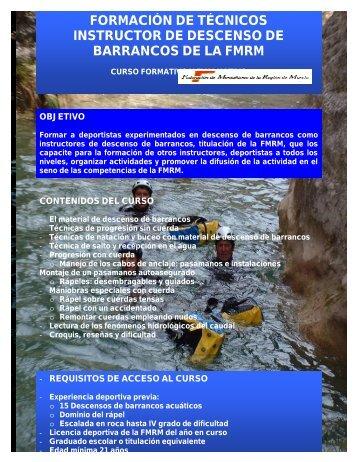 formación de técnicos instructor de descenso de barrancos de la fmrm