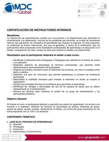 16. Certificación de instructores internos 190711