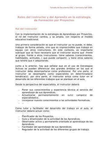 Roles del Instructor y del Aprendiz en la estrategia de Formacin por ...