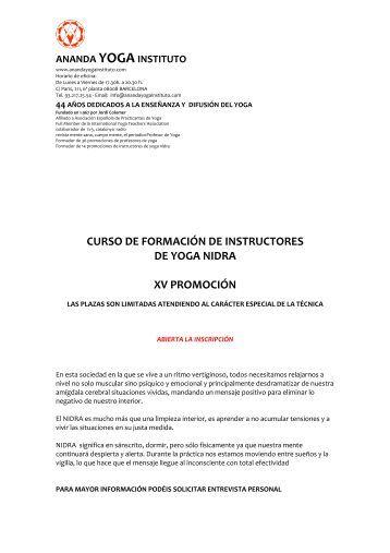curso de formación de instructores de yoga nidra xv promoción