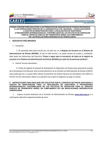 Instructivos Gastos de Manutención - Cadivi