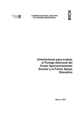 Orientaciones para evaluar el Puntaje Adicional del Factor ... - SEIEM