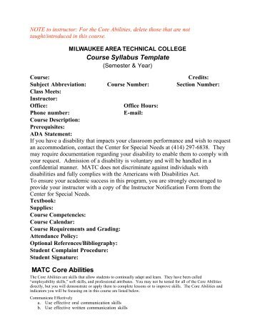 CollegeWide EnA Syllabus Template Montgomery