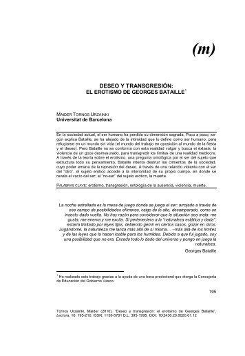 Deseo y transgresión : el erotismo en Georges Bataille - Dialnet